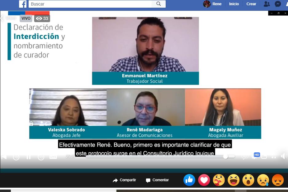 Consultorio Jurídico Iquique realiza capacitación sobre la INTERDICCIÓN por Facebook Live