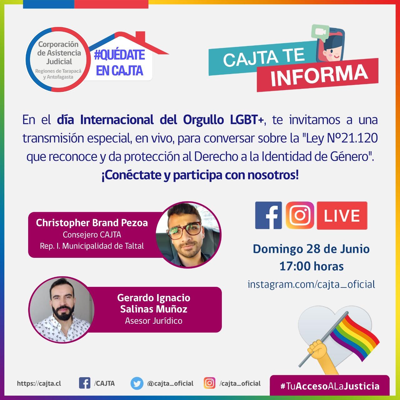 Hoy domingo 28 de junio, Día del Orgullo LGBT+ invitamos a un Programa Especial vía Instagram Live