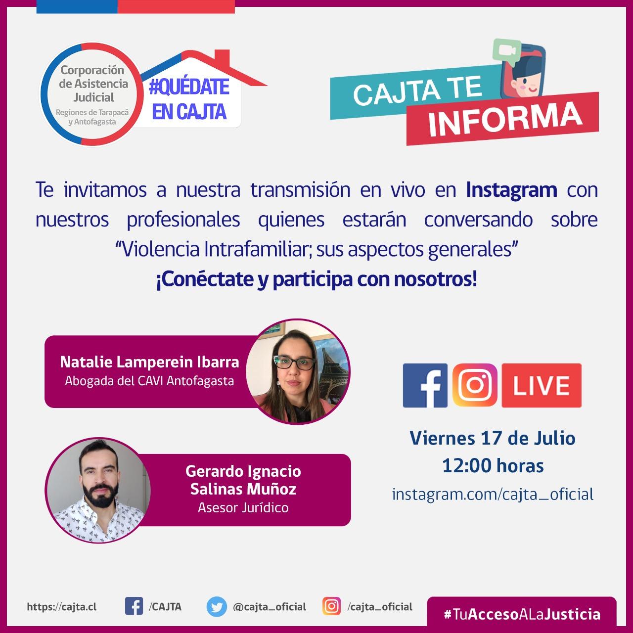 """En Instagram Live : """"Violencia Intrafamiliar, sus aspectos generales"""", viernes 17 de julio"""