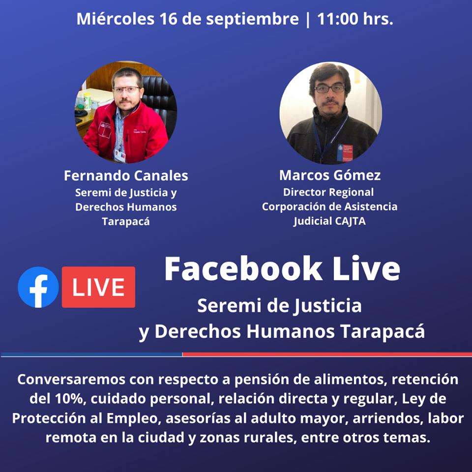 Facebook Live de la Seremi de Justicia y Derechos Humanos de Tarapacá