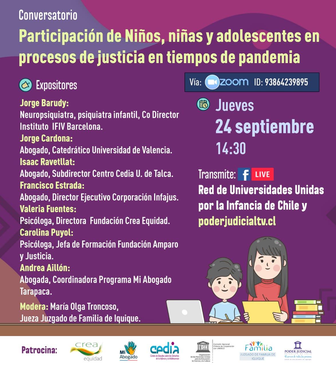 """Invitamos al conversatorio: """"Participación de niños, niñas y adolescentes en procesos de justicia en tiempos de pandemia"""""""