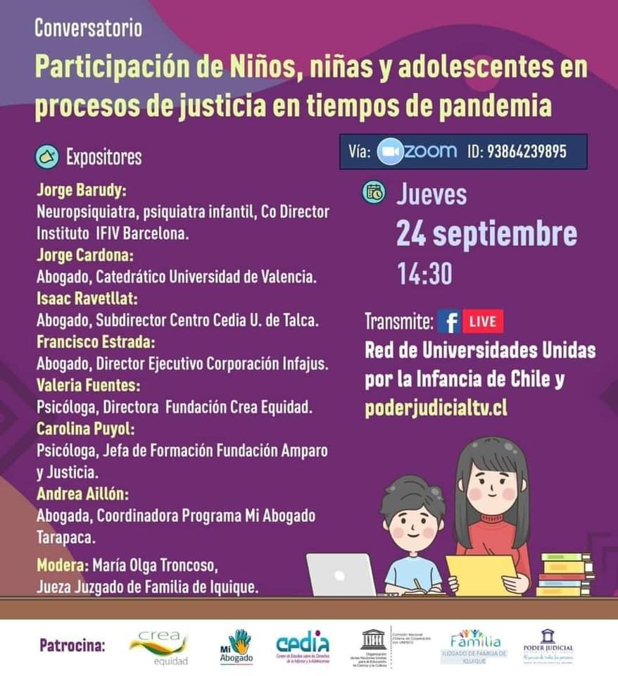 Conversatorio: Participación de niños, niñas y adolescentes en procesos judiciales en tiempos de pandemia