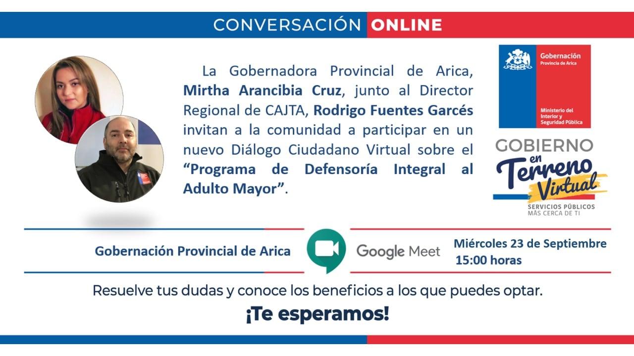 Conversatorio Online entre la Gobernación Provincial de Arica y la Dirección Región de Arica y Parinacota