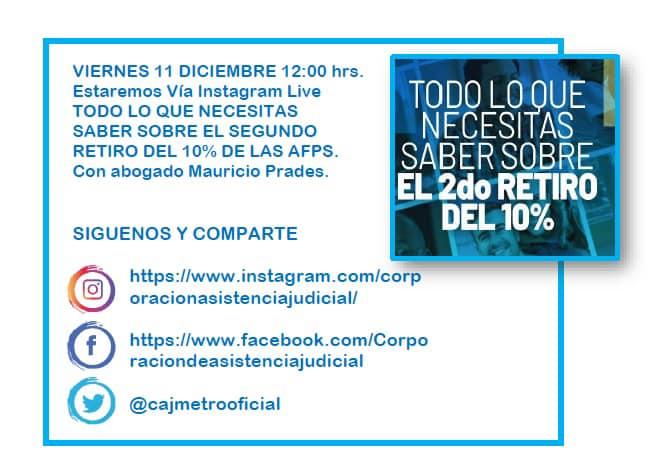 CAJMETRO estará Vía Instagram Live