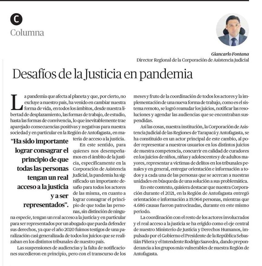 Columna en El Mercurio de Calama del Director Regional de Antofagasta